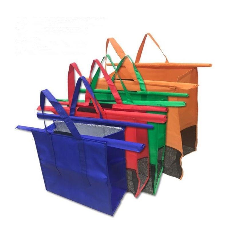4 Pack Shopping Trolley wiederverwendbarer Lebensmittelkarren-Taschen für heiße oder kalte Lebensmittel 210312