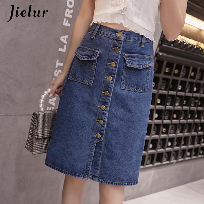 Jielur Cintura Alta Denim Saias Plus Tamanho Botões Bolsos Clássicos Jeans Saia Para Mulheres S- Moda Coreana Elegante Jupe Femme 210305