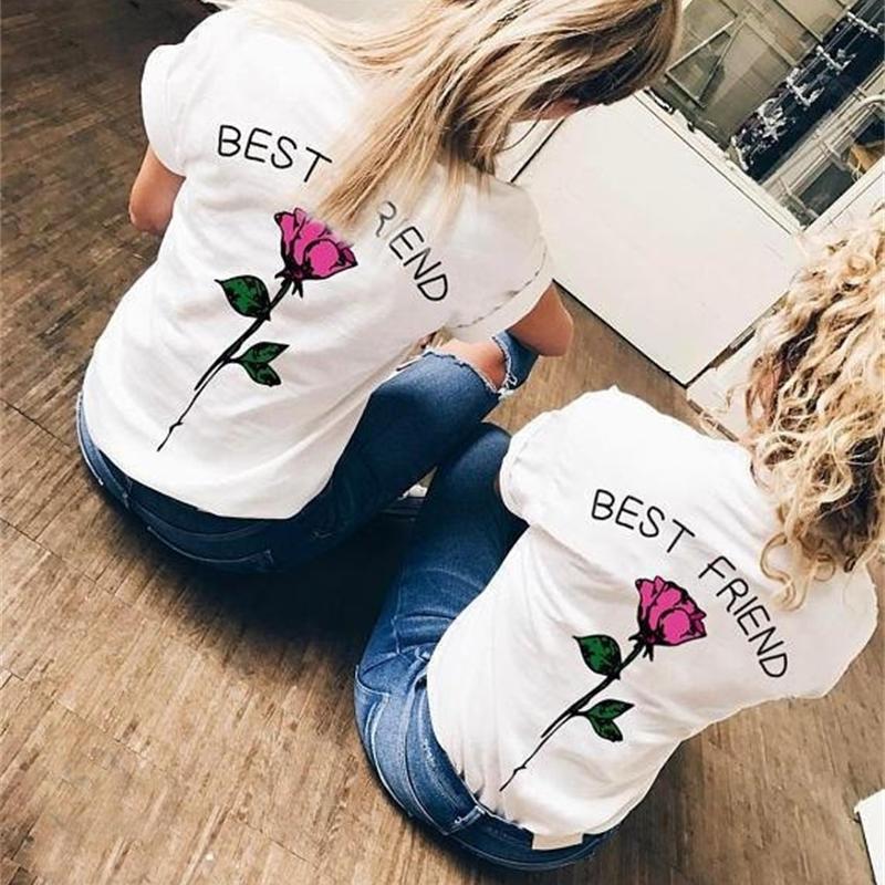 Primavera y verano nuevo mejor amigo carta impresión manga corta camiseta moda versátil redondo cuello redondo