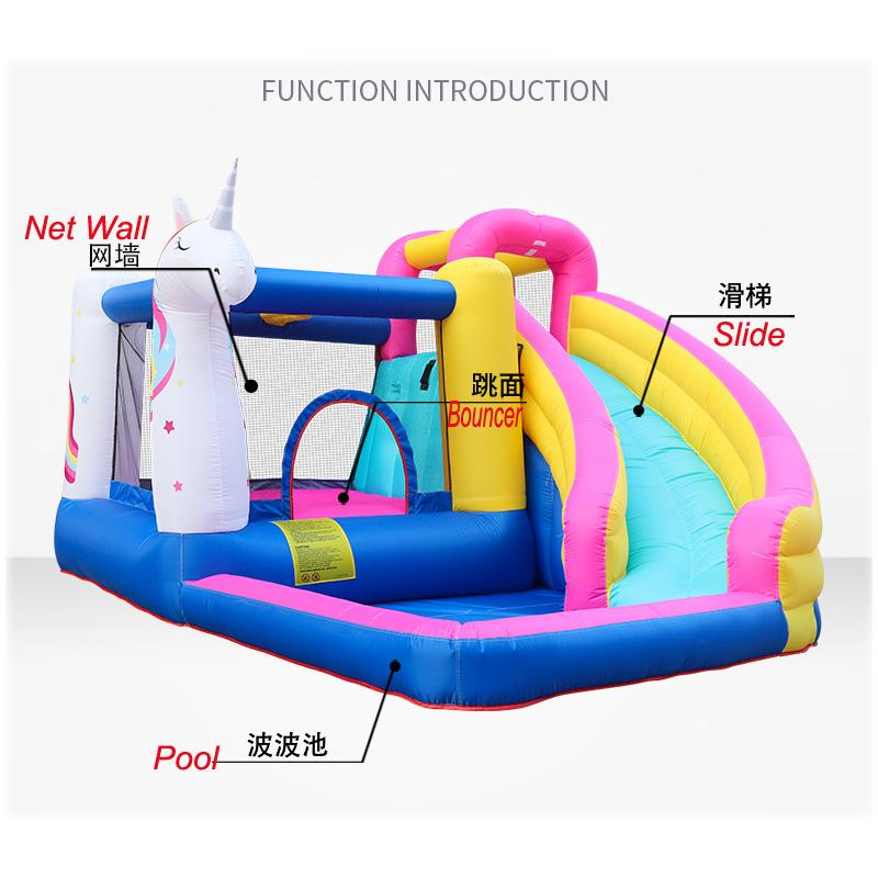 Garden Supplie Unicorn Theme Inflatable Bounce House Bouncer Castle Water Slide With Blower Giant Outdoor