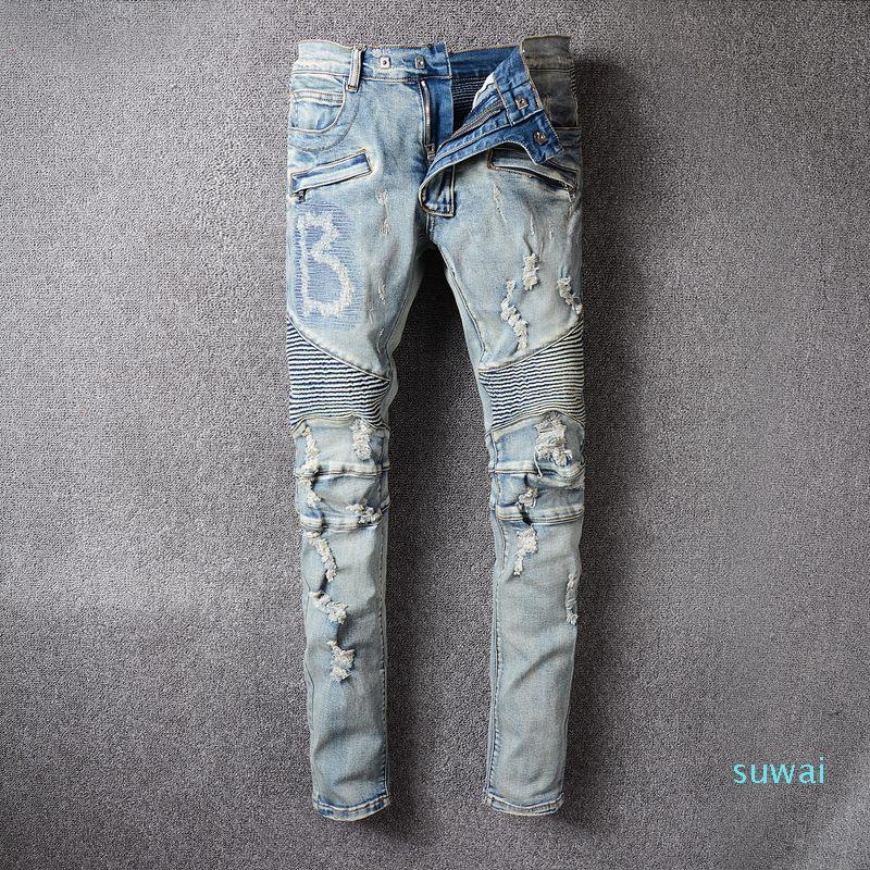 2021 Мода Джинсы Джинсы Одежда Дизайнер Брюки Светло синий Мужская тонкая Джинсовая Джинсовая Джинсы Джинсы Джинсы