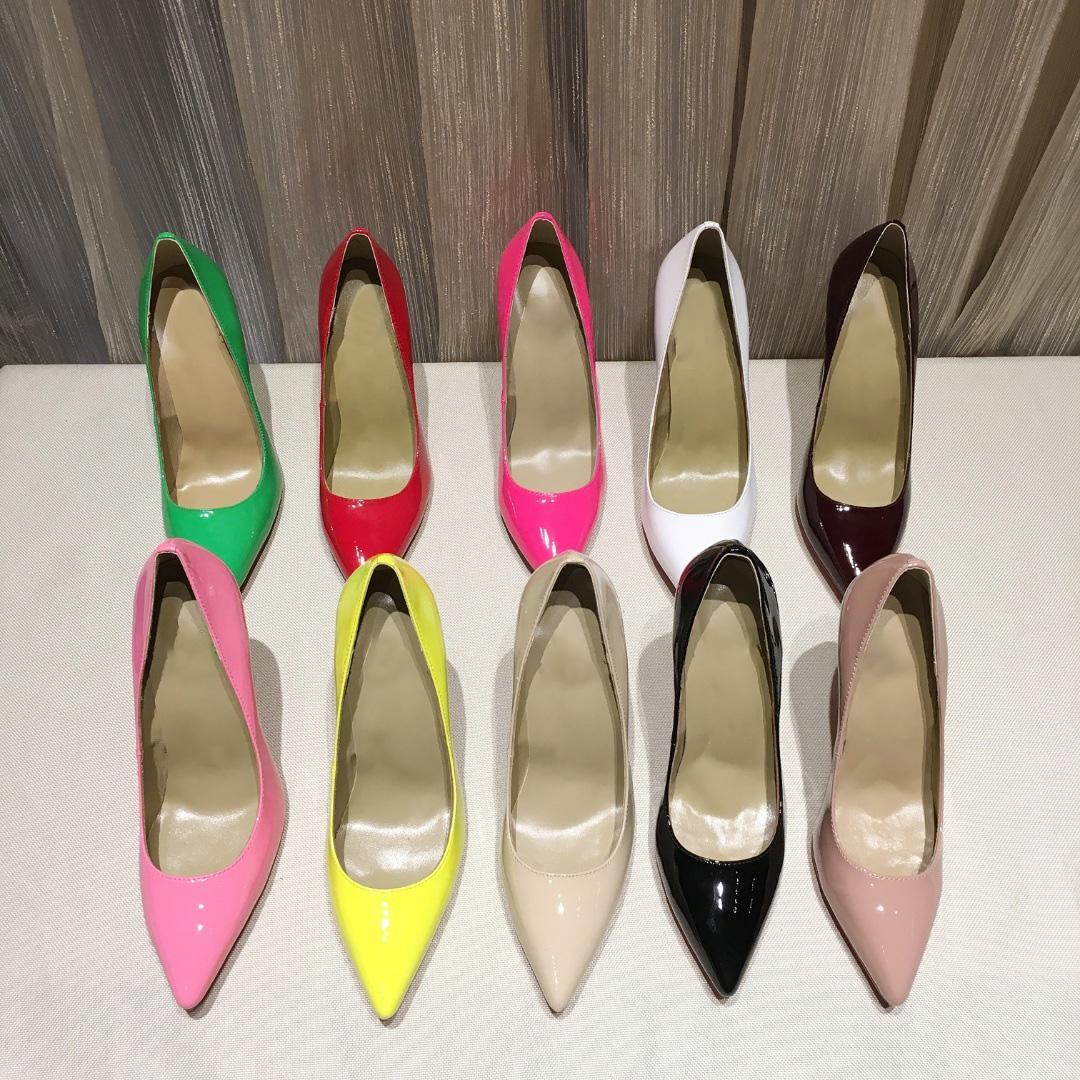 Donne scarpe rosse suole tacchi alti tacchi vestito scarpe sexy signore appuntite punta rossadinata Suola spessa bottoms multi-occasione stile con scatola