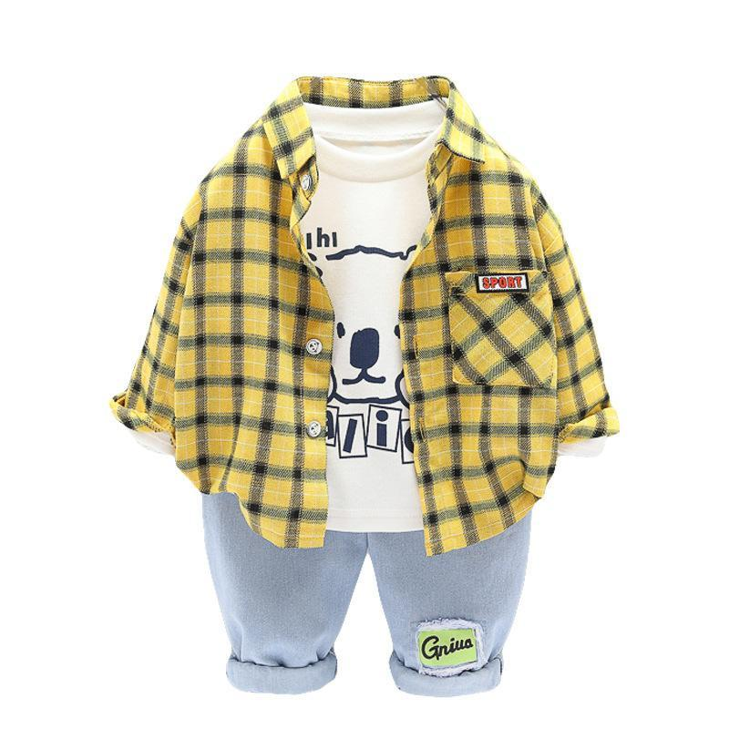 Kleidung Sets Mode Kinder Herbst Baby Kleidung Anzug Jungen Plaid Hemd T-Shirt Hosen 3pcs / Set Kleinkind Casual Kostüm Kids Trainingsanzug