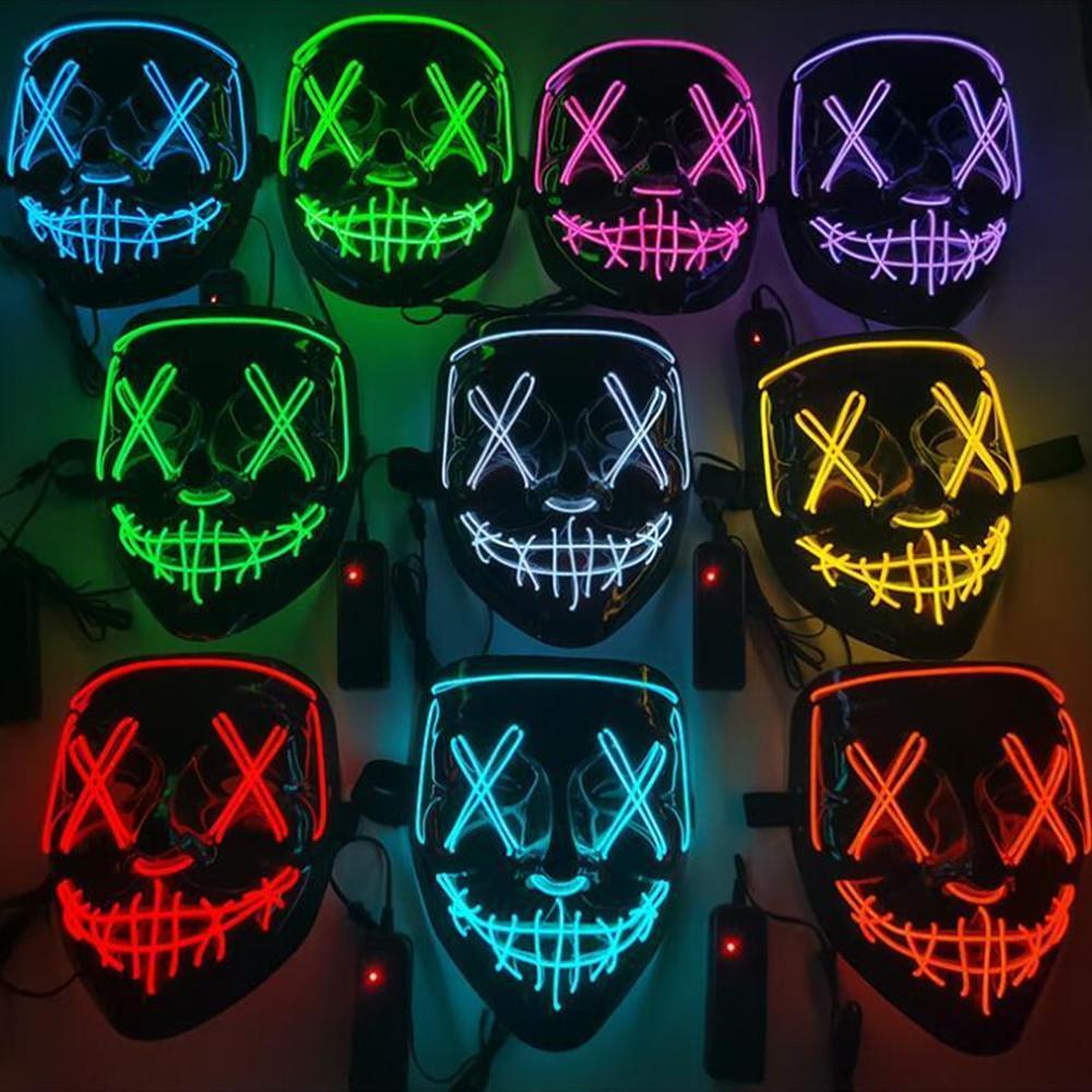 Mascarilla de Halloween de miedo LED iluminada Masquerade Cosplay que brilla intensamente en las máscaras de la cara oscura Disfraz 3 Modos de iluminación Festival de carnaval Fiesta para hombres Mujeres Niños