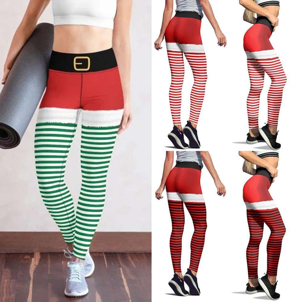 Рождественская цифровая печать плотно полосатые капризы женские спортивные высокие талии тонкие дышащие леггинсы