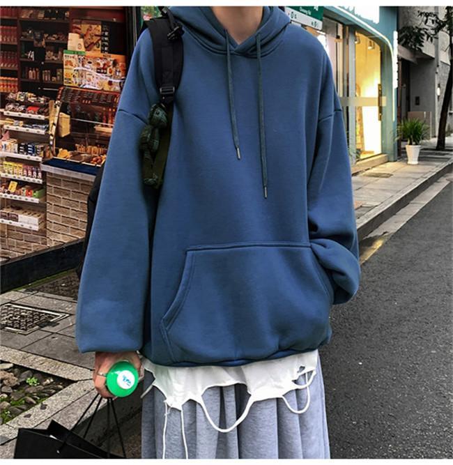 Ey8838 Мужские толстовки сплошной цвет черный белый серый синий мужской куртка с длинным рукавом весна и летняя хип-хоп улица толстовка