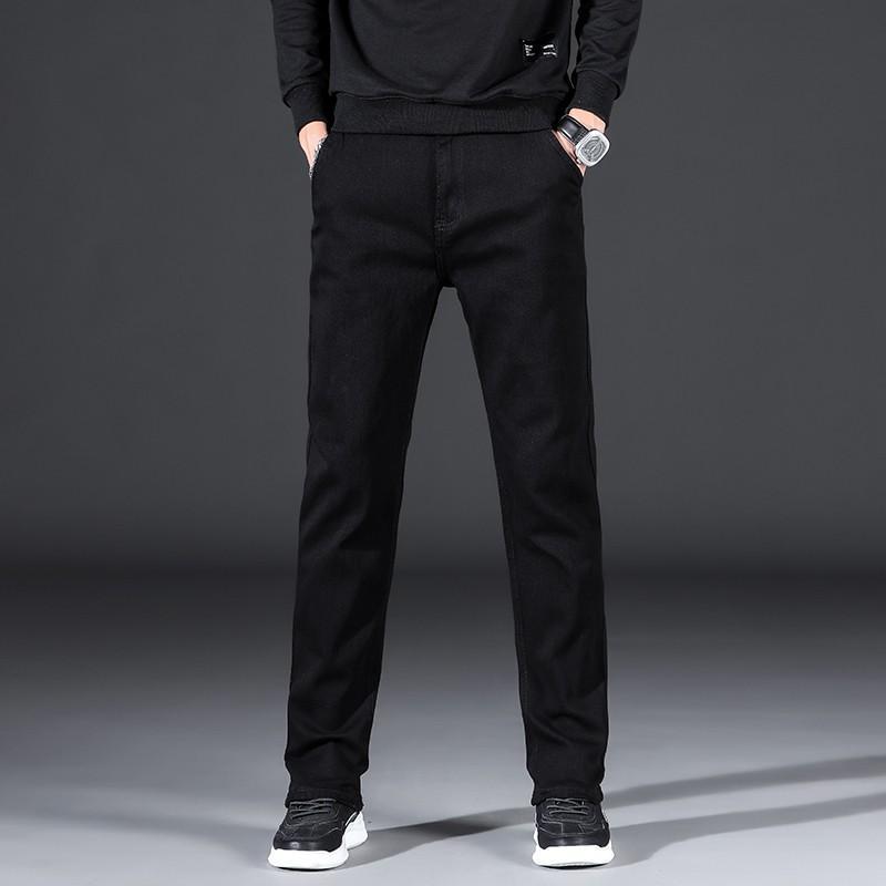 Männer Jeans 2021 SUSREE Hohe Qualität Stretch-Fit Straight-Bein Klassischer Stil Herren Business Casual Jean