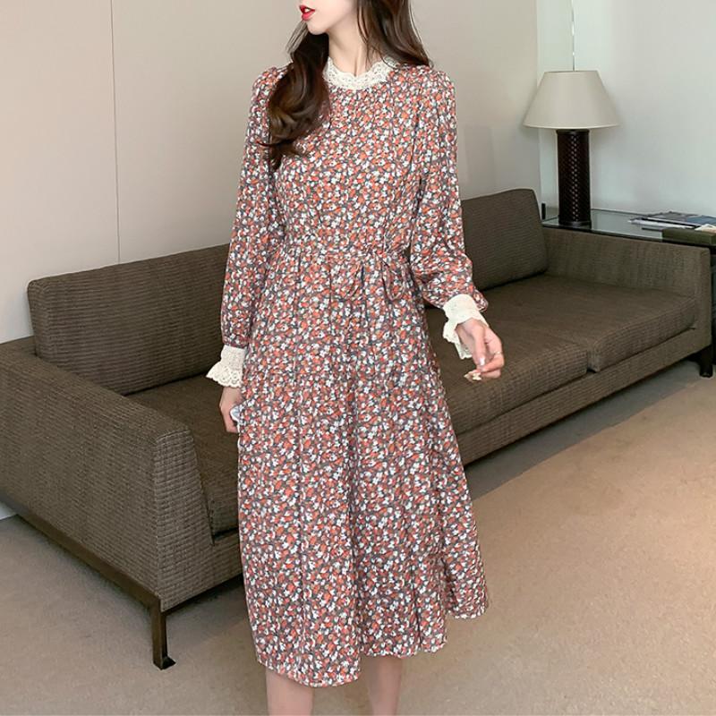 Женщины шифон платье два слоя 2021 Utumn зимняя мода женский с длинным рукавом старинные напечатанные повседневные платья свободные-линии Vestido