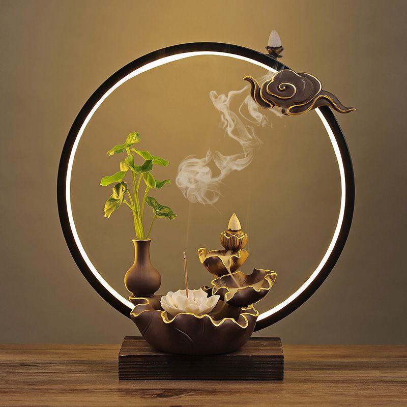 Rückfluss Antike Räucherbrennerhalter Ton Buddha Zen Tibetanische Räucherbrenner Rauchrauch Back Flow Bruleur-Aroma-Lampe