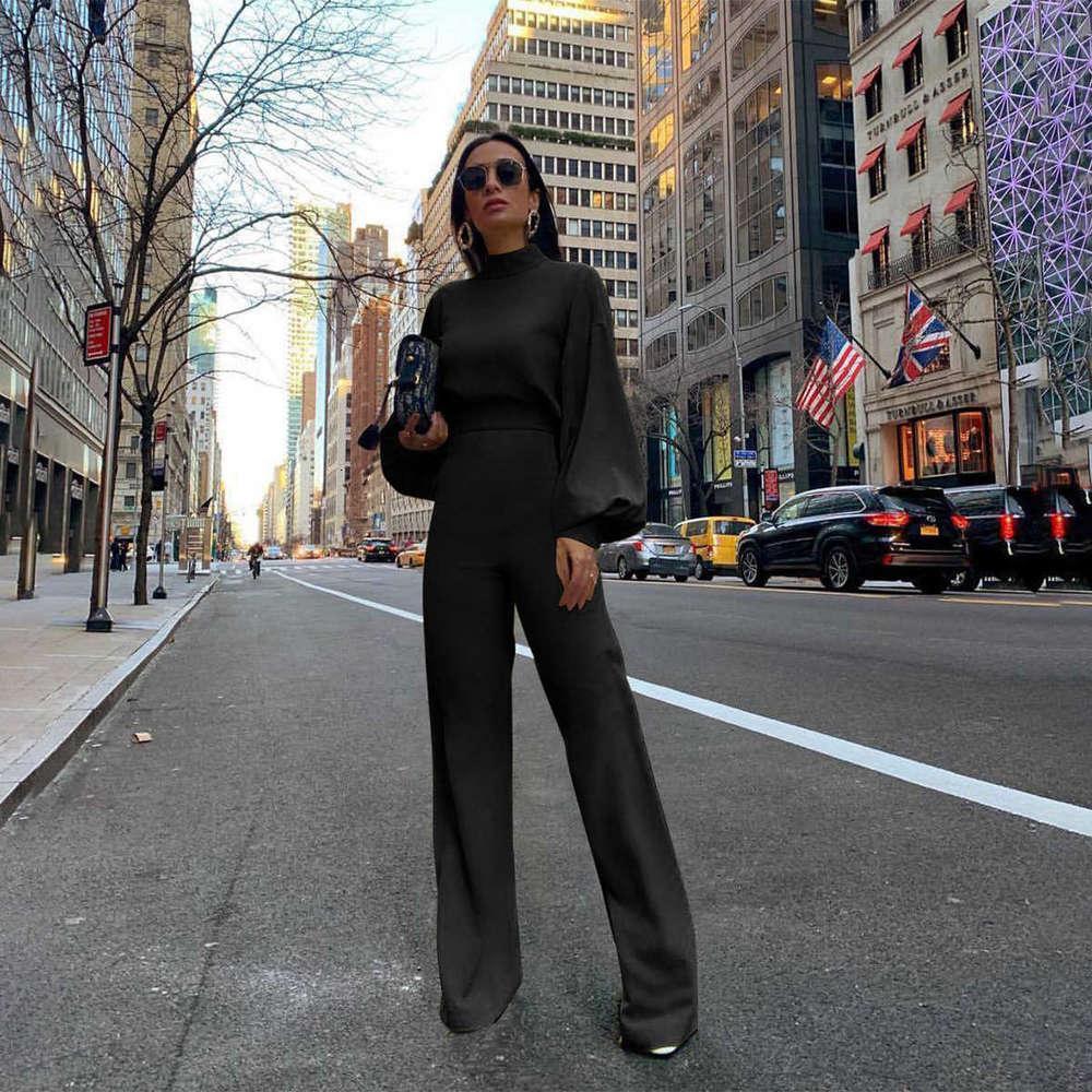 Женский комбинезон сплошной цвет женщин мода с длинными рукавами Высокий шейный галтер мода повседневная цельные брюки осень и зима для женщин