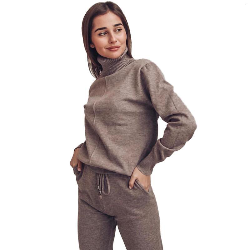 Kazak Suit Kadın Parça Kostüm 2 Parça Setleri Casual Sonbahar Kış Balıkçı Yaka Kazaklar Ve Uzun Pantolon KN PUX5