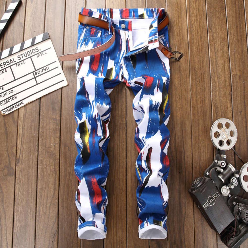 Nova calça jeans impressa camuflagem personalizada na primavera e no outono de 2019Winter