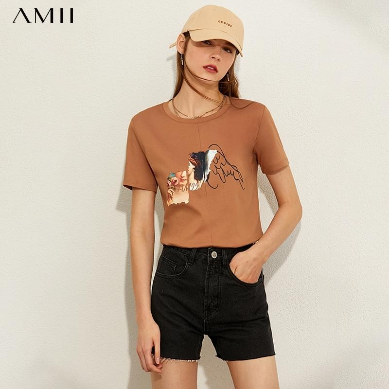 Amii minimalismo primavera verano algodón estampado mujer camiseta moda casual zoneck suelto hembra camiseta tops 12060040 210315