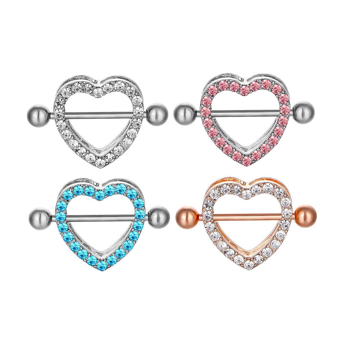 D0985 (5 ألوان) 1.6 * 20 ملليمتر مزيج حجر القلب نمط الحلمة حلقة ثقب المجوهرات