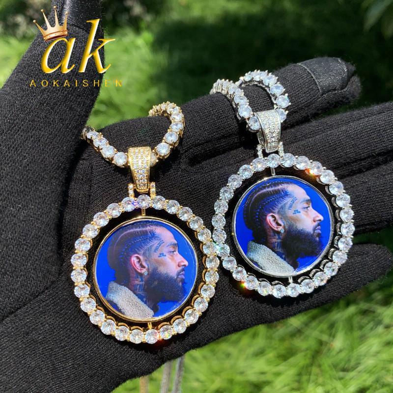 Custom Made Fotoğraf Dönen Çift Taraflı Madalyonlar Kolye Kolye 4mm Tenis Zincir Zirkon erkek Hip Hop Takı 2x1.65 inç V191128