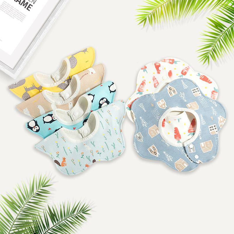Ins Mütter- und Säuglingsprodukte 360 Grad Reine Baumwolle wasserdicht Baby Blütenblatt Kinder Speichel Tuch Lätzchen