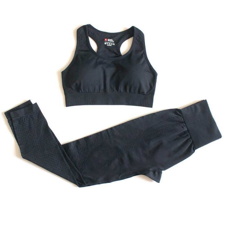 Seamless 2 peças Set Mulheres Sports Sports Sportswear Tracksuit Gym Set Roupas Fitness Leggings Traje para Yoga Set Sports Ternos U8