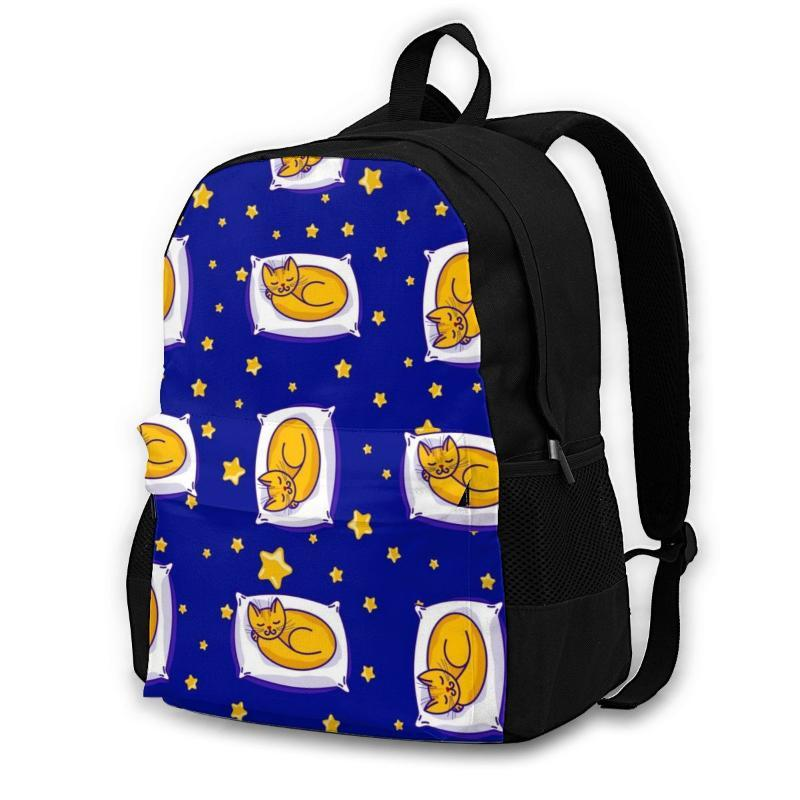 Рюкзак ноутбук женщины холст школьные подростки случайные путешествия имбирь кошка и звезды на четкие мешки неба