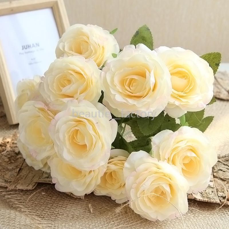 12 têtes de la soie rose fleurs artificielles bouquet bouquet de bouquet de mariage soik room room maison décorative table vase fleurs