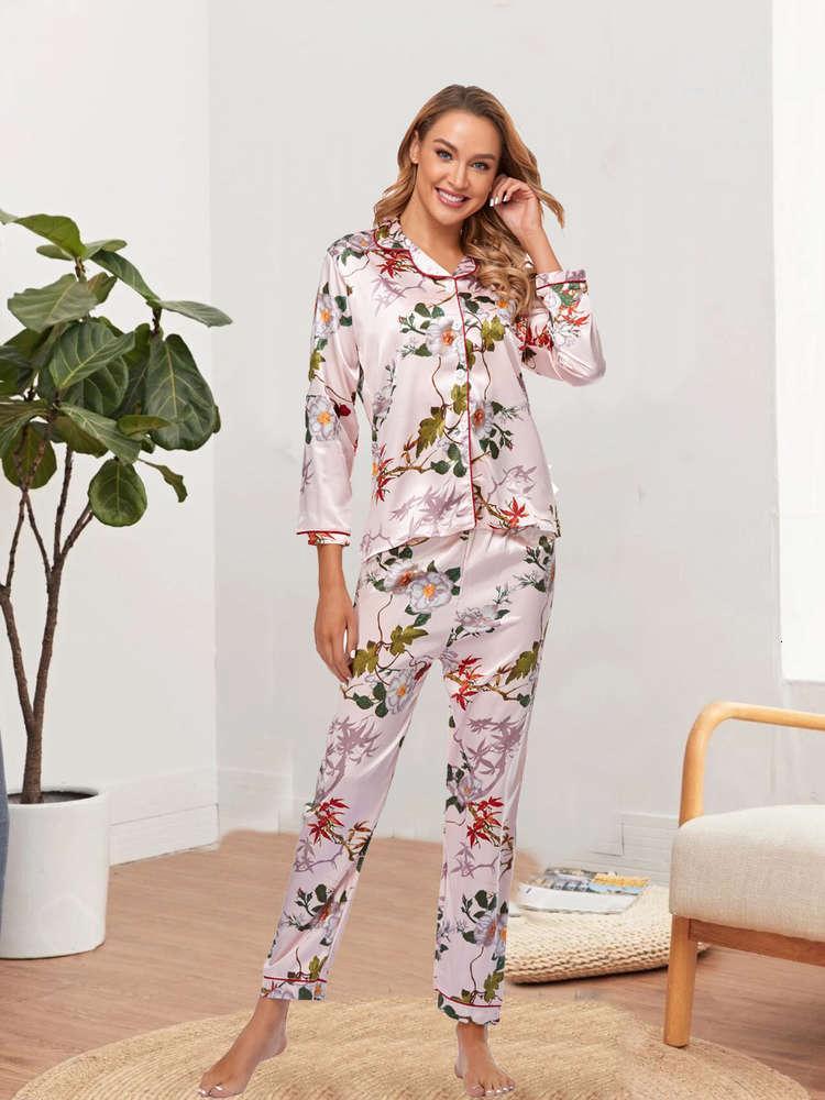 Устанавливает стиль Pajamas Seil Silk с длинным рукавом дышащая домашняя одежда