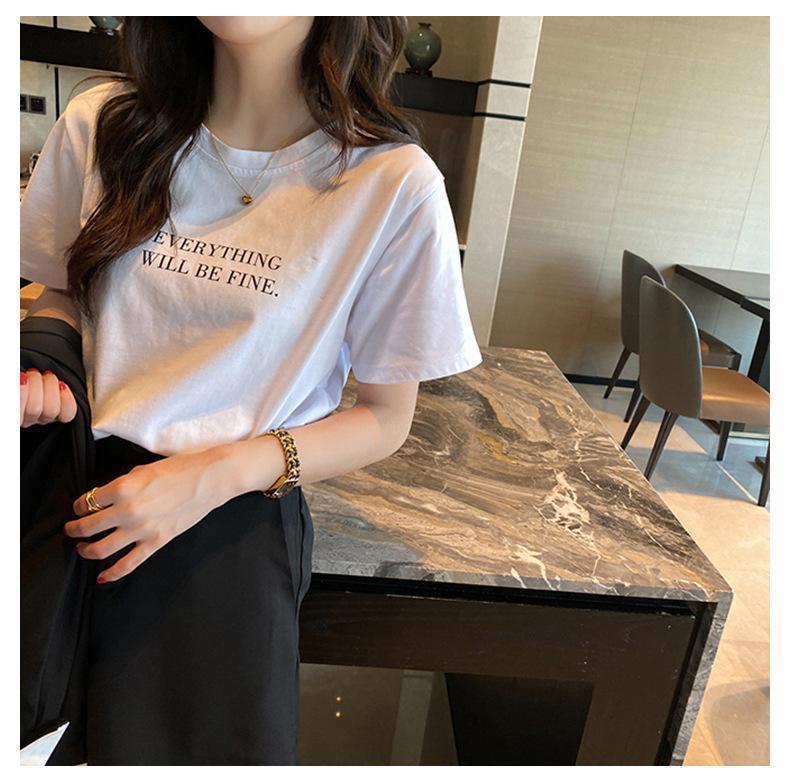 Camiseta para mujer Carta de verano con estampado de mujeres Harajuku Girl Tee Top Femenino T-shirt Blanco Algodón puro de manga corta de manga corta o-cuello de la camisa