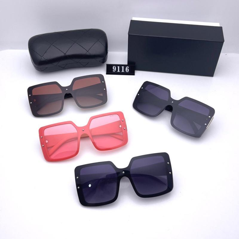 Lunettes de soleil carrées classiques pour femmes Mode Quatre couleurs Design Luxe de haute qualité HD HD Polarized lentilles Big Box Driving Sun Lunettes 9116