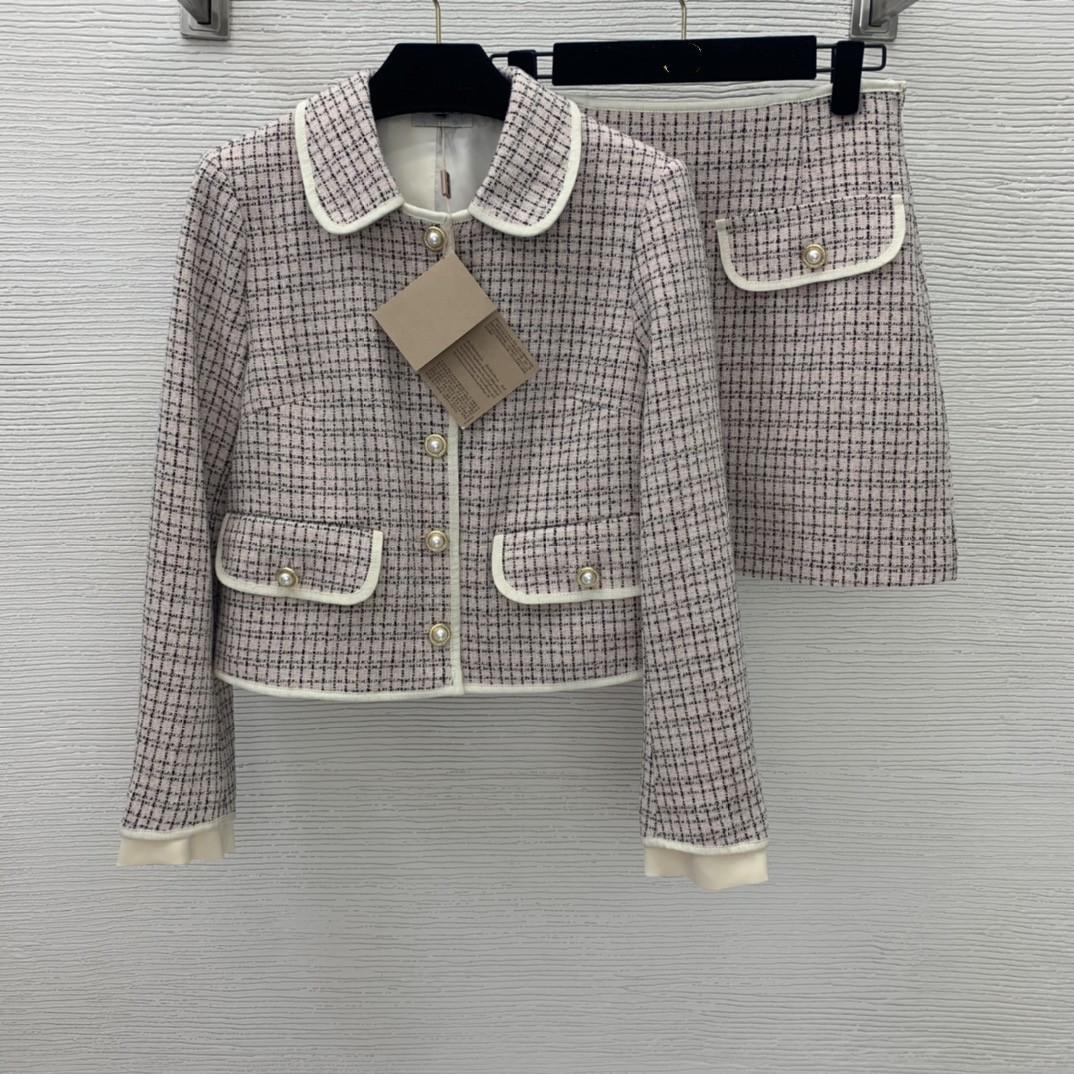 İki Parça Elbise 2021 Sonbahar Kış Yaka Boyun Uzun Kollu Mont Ve Bayan Moda Baskı Şort 2 Parça Setleri 0904-6