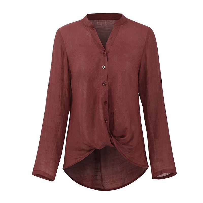 Vintage Frauen Bluse Front Buttons Feste V-Ausschnitt Langarm Asymmetrische Saum Hemd Lässige Frauen Tops Mode Blusen 2021