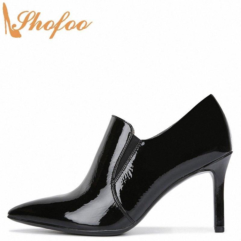 Черные патентные кожаные высокие тонкие каблуки ботильоны женщину заостренные носки эластичные пинетки большого размера 14 15 дамы модная обувь Shofoo G30Q #