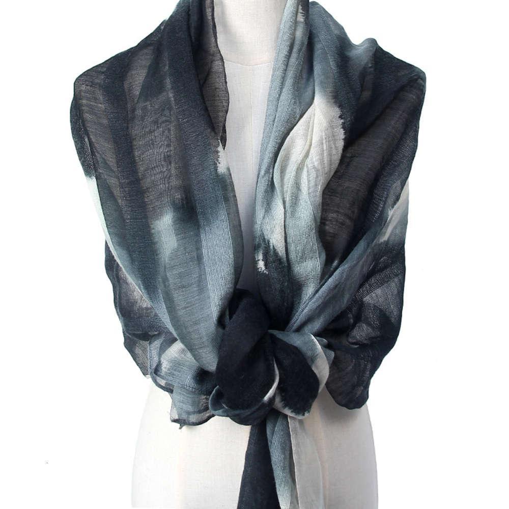 Foulard en laine de soie 2021 Encre d'été mince de la châle de châle d'été noir et blanc