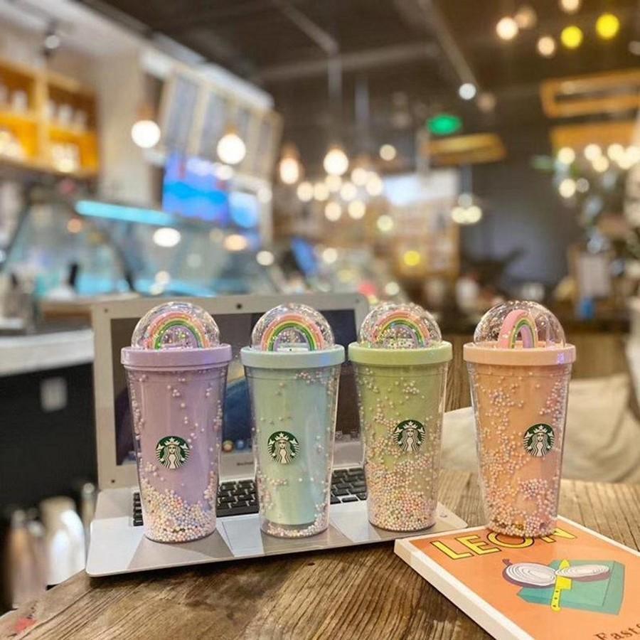 DHL 450 ML Sevimli Gökkuşağı Starbucks Fincan Çift Plastik Çörek Ile Pet Malzeme Çocuklar Için Yetişkin Kız Hastaları Hediye Için Ürünler