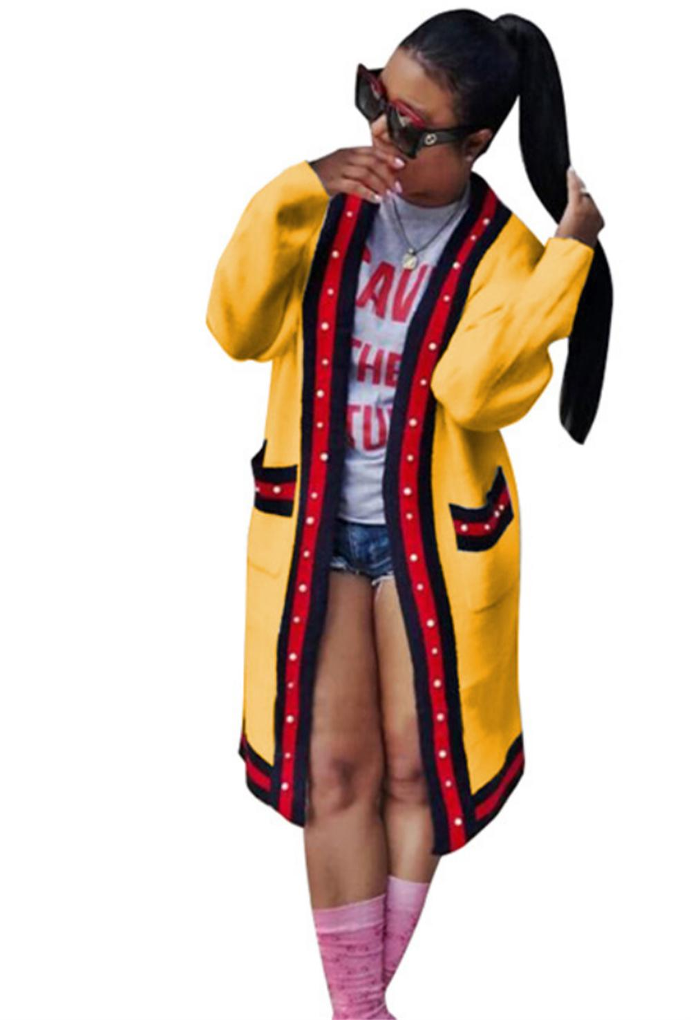 Womens Dress Bolso Patchwork Hoodie Outono Inverno Moletom Com Capuz Manga Longa Listrada Tops Outerwear Tops Tamanho S-XL