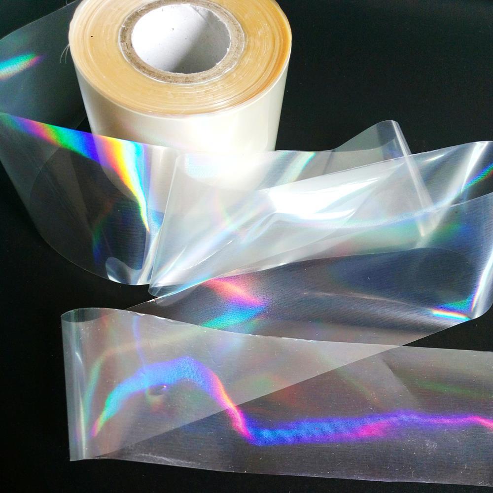 120m / roll laser clara folha de transferência para salão de vidro holográfico quebrado quente estampagem adesivos Pressione no papel