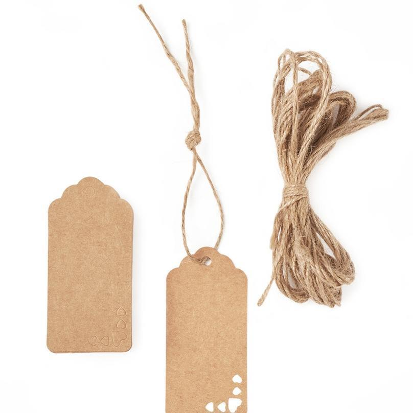 Jóias Display Kraft Papel preço com cânhamo corda burllywood, 9x4.5x0.03cm; Cerca de 100 pcs / bolsa jóias jllsar