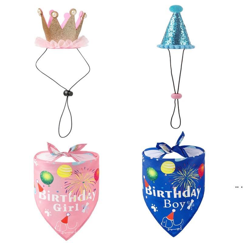 Домашние дни рождения треугольник шарф милый день рождения мальчик девушка слюна шарф головка носить реквизиты щенок кошек вечеринка костюм поставки DHA4208