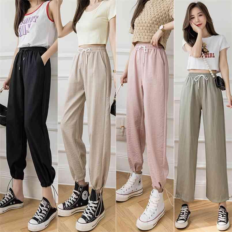 Mode grün schwarze Aprikosen Rosa Lässige Sommer Baumwolle Leinen Harem Knöchellangen Hosen für Frauen Straße Elastische Taille Hose 210603