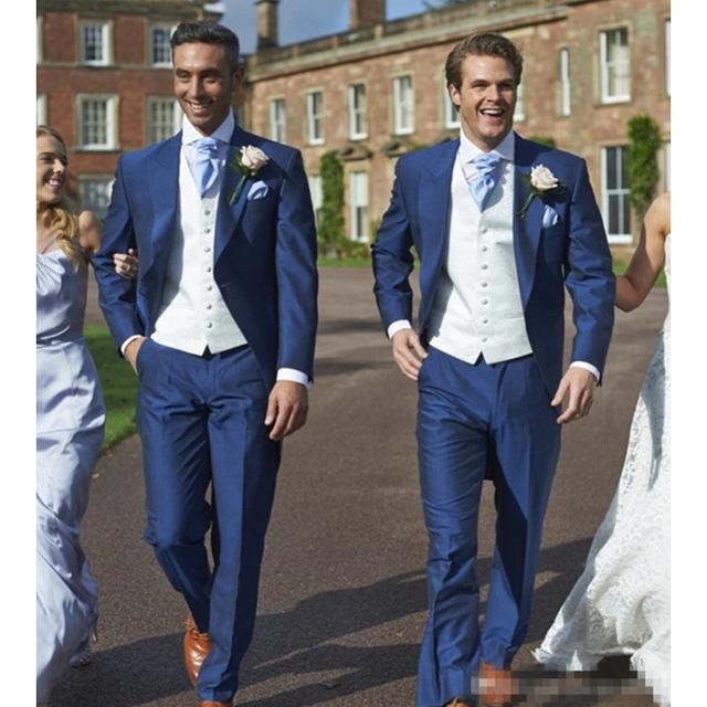Abiti da uomo Blazer Blazer Thorndike Wedding Groom Slim Fit Blue Men Suit set per Smart Casual Blazer Costume Homme (Giacca + Pants + Vest)