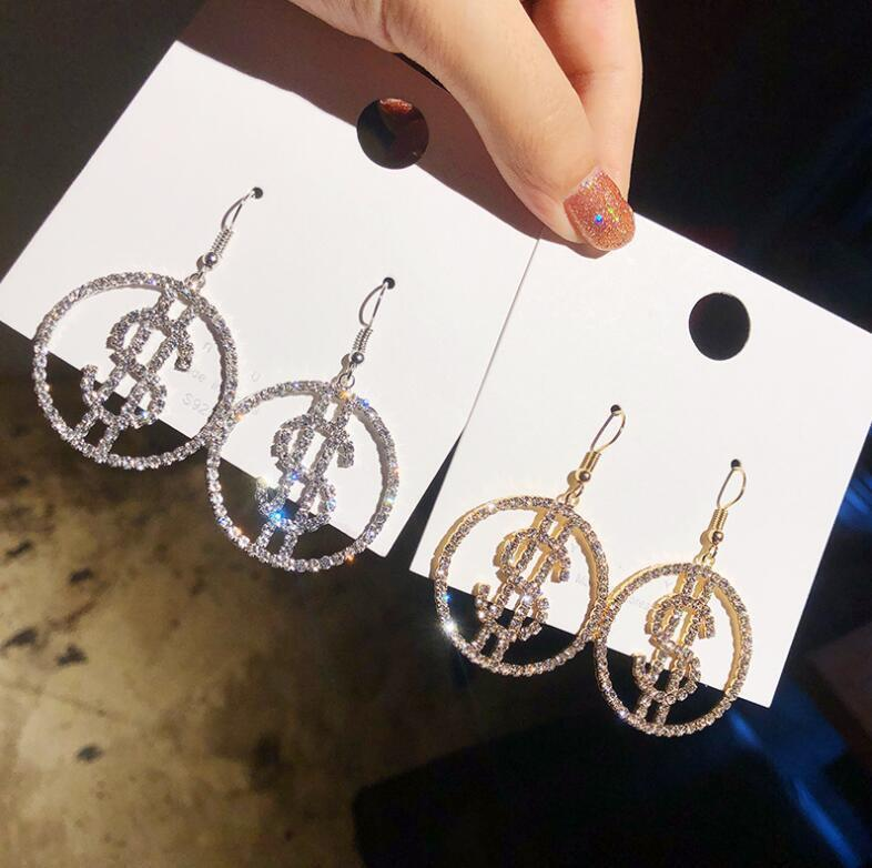 925 Silver aiguille Japon et Corée du Sud Nouveau Diamond Personnalité Net Rouge avec des boucles d'oreilles Earhaise de mode polyvalente exagérée pour femmes