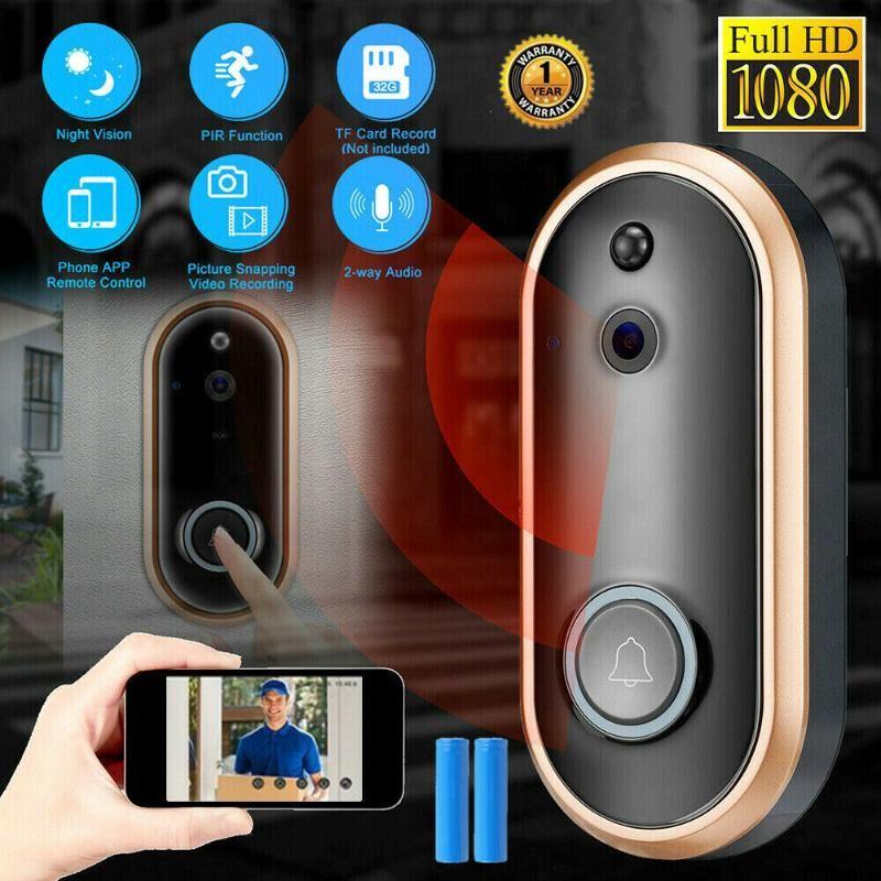 1080P HD Campainha Wireless Camera Audio Intercomunicador Remoto Wi-Fi para Apartamentos Campainha de Segurança de Alarme IR com câmera