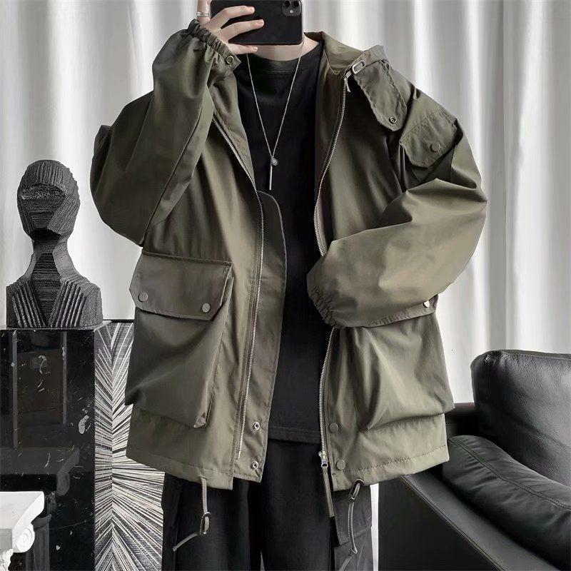 Männer Jacken 2021 Herbst und Winter Jugend Lose Massivfarbe Retro Große Tasche Werkzeug mit Kapuze Jacke Mode Casual Top M-2XL