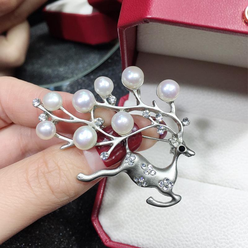 Newexquisite Рождественский олень натуральная жемчужная брошь пресная вода DO-BUB Lady Brouch подарок Высокая одежда для волос оптом