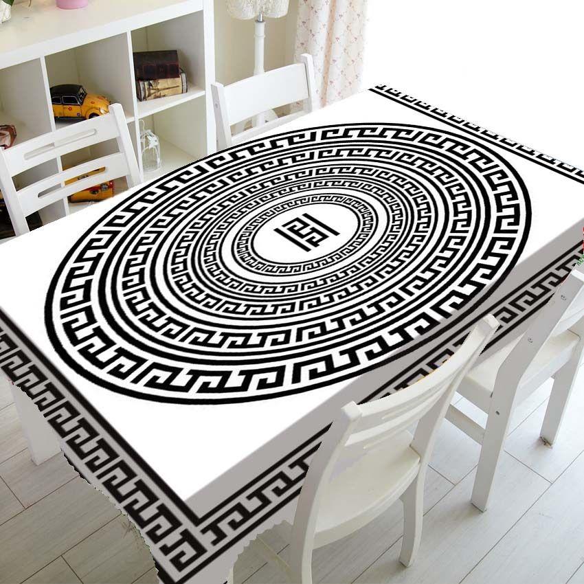 Black White Greek Key Tablecloth Table Cloth for Birthday Party Decor Elegant Meander Border Rectangle Square Tablecover Decor L0220