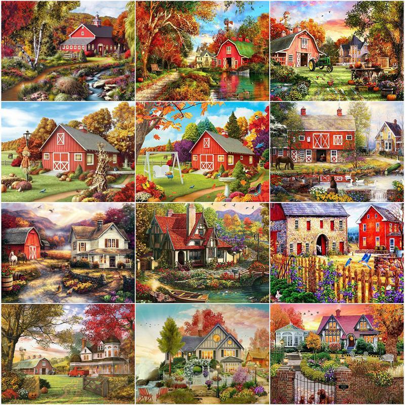 Алмазная живопись Evershine DIY 5D Полный квадратный Дом Вышивка Осень Декорации Стразы Художественные Зондные Стечки Мозаичные Наборы