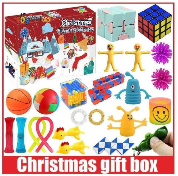 Nuovo! DHL Favors Fidget Toys Christmas Blind Box 24 giorni Avvento Calendario Confestazione di musica Countdown Countdown 2021 Regali per bambini BS15