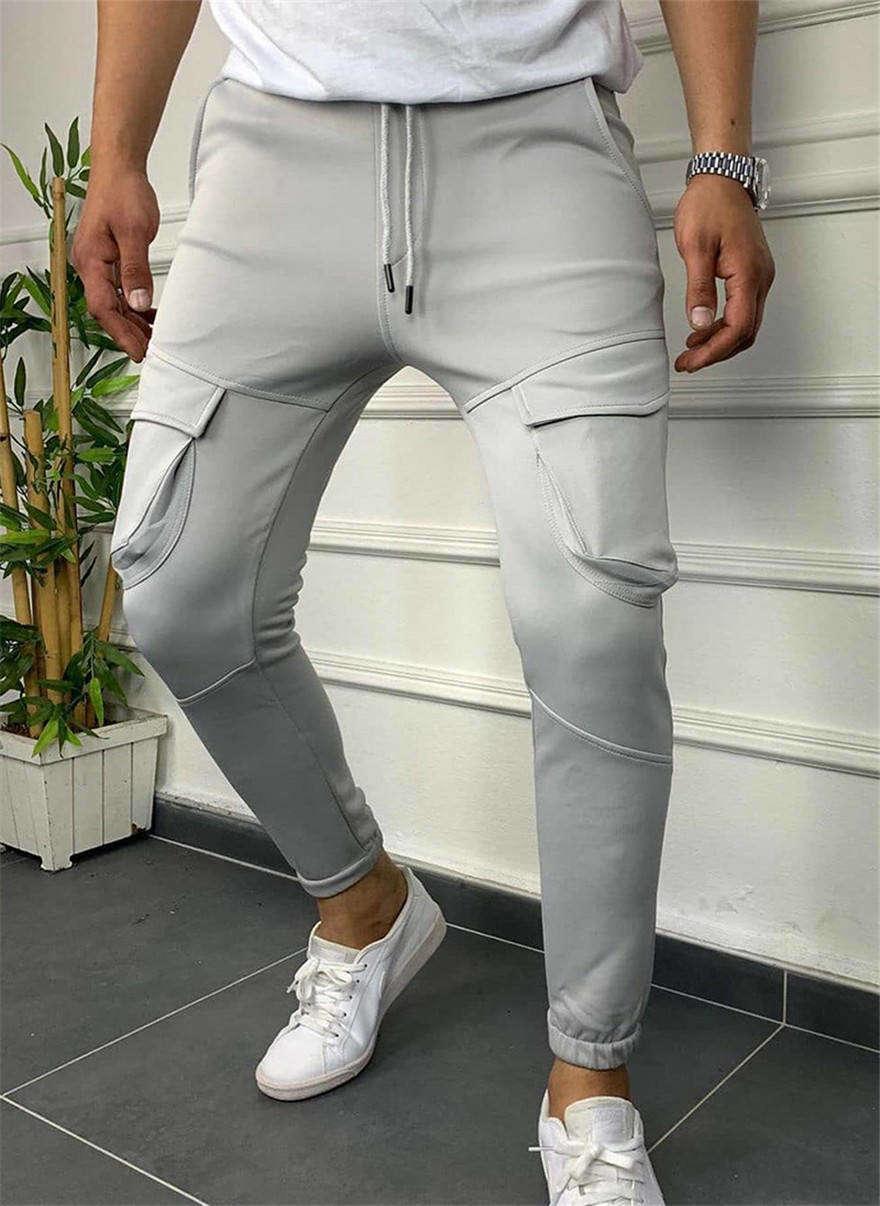 Мужчины карандаш Drawstring Hiphop тонкие длинные брюки с карманами повседневные сплошные цветные стритлей мужские штаны