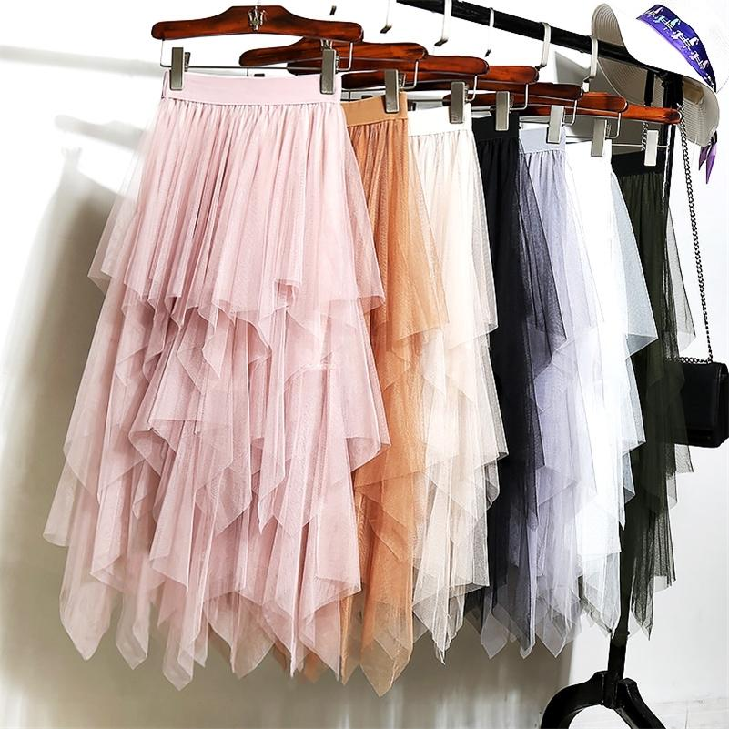 Alta cintura longa saia tule mulheres irregular hem malha tutu saia elástica faixa de cintura de cintura uma malha colorida pleated mid-bezerro saias 210315