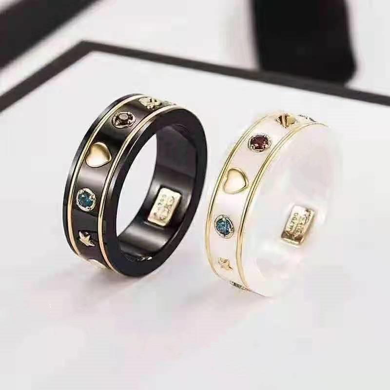 Mode Ring für Mann Frauen Unisex Keramik Ringe Herren Frau Schmuck Geschenke Mode-Accessoires 6 Farbe mit Kasten