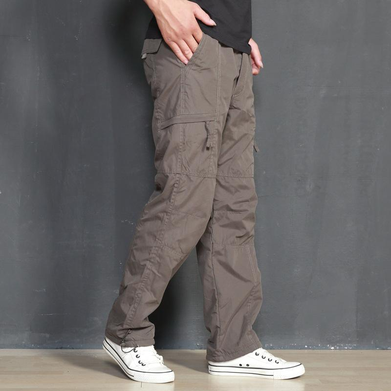 Men's Pants ICPANS Cargo Men Winter Loose Cotton Fleece Warm Thick Jogger Mens Casual Zipper Army Black For Big Size