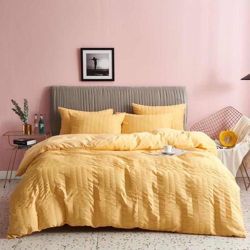 Set di biancheria da letto Seersucker Trapunta in tre pezzi Copertura addensare Duvet Covers Set di colori solido Tenere per letto Bedclothes morbido Cuffia nordica