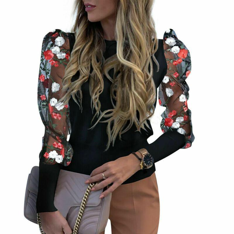Women Spring Mesh Puff Long Sleeve Ribbed Knitted Shirt Loose Casual Lace Flower Blouse Tops Elegant Turtleneck Party Streetwear